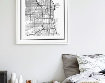 Chicago Map Print, Chicago Illinois Map, US City Map Print, US Map, Chicago Map Poster, Illinois Map, United States Map, Chicago, Illinois