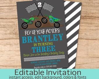 Dirt bike invitation etsy dirt bike birthday invitation boys birthday invitation racing dirt bike invite editable birthday filmwisefo Gallery