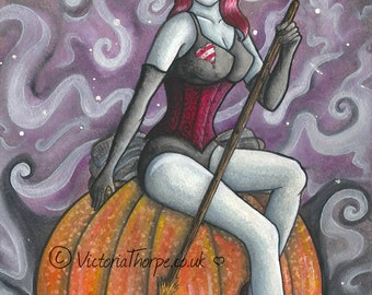 Art Print - Lady Crimson Spooky Gothic Retro Pin Up Wicca Witch Zombie Pumpkin 50s 60s Bewitched Purple Magical Magic Pagan Autumn UK