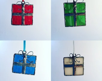 Customizable stained glass gift box ornaments