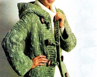 Crochet Hooded Toggle Jacket pattern - Hooded Toggle Jacket - PDF Pattern INSTANT DOWNLOAD