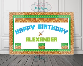 PRINTED, Mine Theme, Mine Themed, Video Game Birthday Banner, Pixel Craft, Birthday Backdrop, Cake Table, Poster, Party Sign