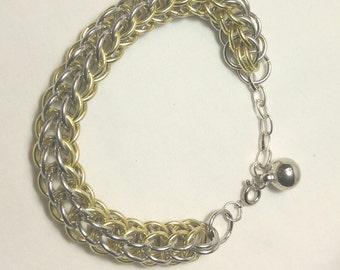 Bracelet,Multitone Metal Bracelet,Gold and Silver Jewelry,Multitone Bracelet,Chunky Gold and Silver Bracelet,Metal Bracelet by Cindydidit