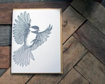 Chickadee Letterpress Blank Greeting Bird Card