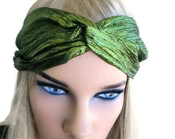 Metallic Green turban-Adult turban headband in grass green-Many colors to choose from