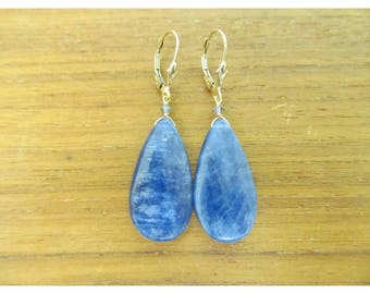 Genuine Natural 37.80 CTW BLUE KYANITE teardrop briolettes beads gold filled earrings