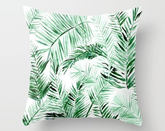 Palm Leaf Throw Pillow, palm leaf pillow, palm leaves pillow, palm throw pillow, green pillow, leaf throw pillow, tropical leaf pillow