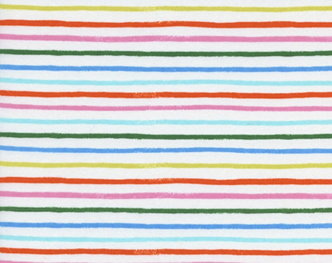 Happy Stripes (in Cream) in Cotton LAWN from Amalfi by Rifle Paper Co. for Cotton + Steel