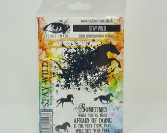 Horse Stamp - Stay Wild  - Wild Horses Stamp - Visible Image - Clear Photopolymer Stamp