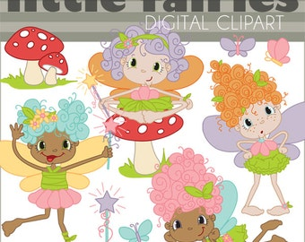Fairy Clipart Set -Personal and Limited Commercial Use- cute girl fairies butterflies toadstools and wands
