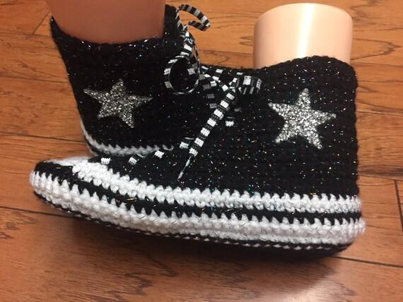 converse crocheted slippers inspired sneaker white slippers shoe Converse converse Womens converse 8 top tennis high blsck List 347 bling 10 qOwR5