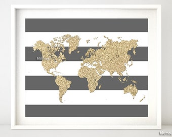 World map pdf poster etsy instant download 10x8 printable world map golden glitter map print gold and stripes gumiabroncs Gallery