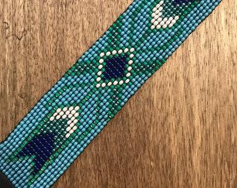 Hand beaded Southwestern print bracelet