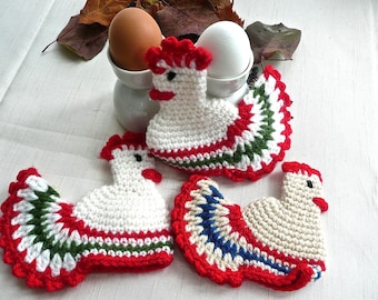 Egg Warmers - Chicken Egg Covers - Set of 3 - Crocheted Chickens - Kitchen - Retro Kitchen - Dining - Table Accessory