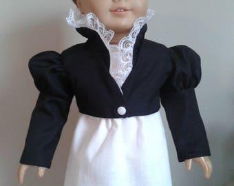 Regency Black Cotton Summer Feather Tail Spencer for AG Caroline or 18 Inch Doll