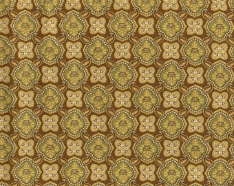 Olive Green Floral Fabric, Floral Fabric, Yellow Floral Polka Dot Fabric, Golden Fabric, 00872