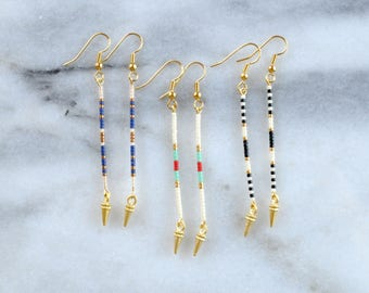 Beaded Stick Earrings, Long Beaded Earrings, Bohemian Earrings, Delicate Earrings, Southwestern, Minimalist, Modern, Spike Earrings