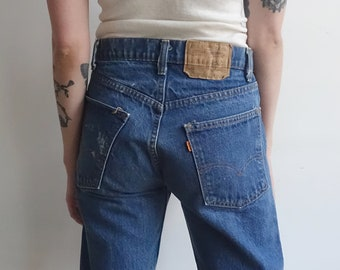 Vintage 70s Orange Tab Levis/ 1970s Levi Jeans/ High Waisted Straight Leg/ Made in USA/ Size 30 31