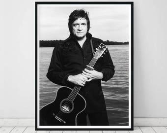 Johnny Cash Print O Photograph Poster Jack Art Black And
