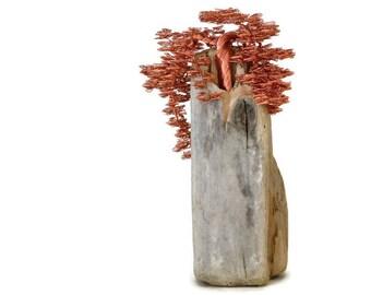 Wire Tree Sculpture, Driftwood Sculpture, Bonsai Tree, Wire Tree, Metal Sculpture, Copper Sculpture, Home Decor, Driftwood Art, Modern Gift