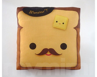 "Decorative Pillow, Toast Pillow, French Toast, Breakfast, Mustache Pillow, Cushion, Throw Pillow, Kawaii Pillow, Room Decor, Toys, 7 x 7"""