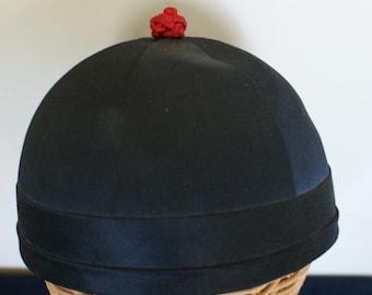 Vintage Traditional Chinese Black Silk Skull Cap Hat