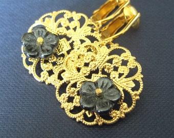 Gold Filigree Clip On Earrings, Dark Gray Glass Flower, Golden Medallion Lightweight Clip Earrings, Flower Earrings, Handmade, Leila
