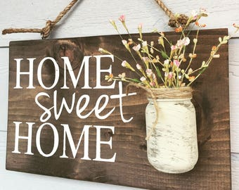 Home sweet home rustic front door sign decor,  gift, Outdoor signs for house & home, front porch wood sign decoration, house sign