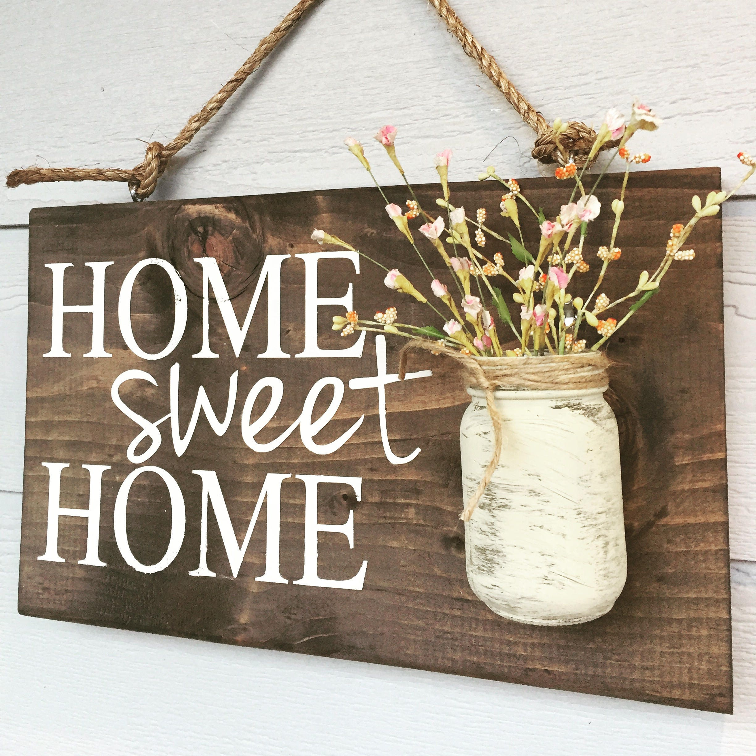 Home sweet home rustic front door sign decor outdoor signs request a custom order and have something made just for you rubansaba