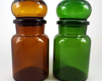 Vintage Set of Brown and Green Glass Apothecary Jars with Bubble Lids, Made in Belgium Set of 2, Air Tight Containers for Kitchen or Bath