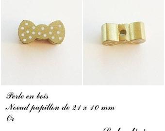Wood 21 x 10 mm bead, Pearl flat bow: Gold