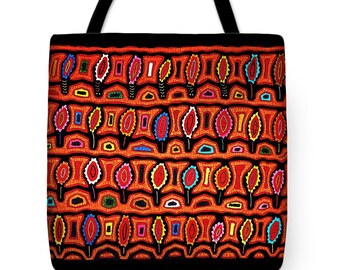 San Blas Kuna Indian Design Printed on PolyPoplin Tote Bag Gift - Folk Art Throw Pillow Gift - Tribal Decor - Kuna Design Bag - Shopping Bag