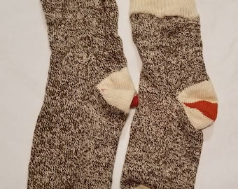 Vintage socks, red heel, sock monkey