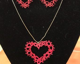 Tatted Open Heart Necklace & Earrings