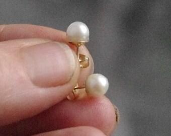 Classic White Freshwater Pearl Gold Stud Earrings