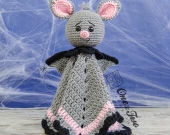 Brook the Tiny Bat Lovey / Security Blanket - PDF Crochet Pattern - Instant Download - Blankie Baby Blanket