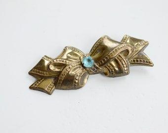 40s Brass Bow Brooch