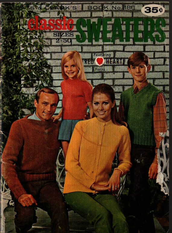 Classic Sweaters Sizes 2-50 Coat's & Clark's Book No. 186 – First Edition + 1968 + Vintage Knitting Book