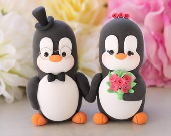 Unique wedding cake toppers Penguins holding hands - LARGER size- bride groom figurines custom cake toppers personalized fuchsia hot pink