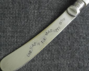 hand stamped cutlery knife unleash the marmite only