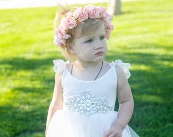 Baby flower crown headband, Girl flower crown, headband, baby headband, flower headband, Pink flower crown, flower girl,Toddler flower crown