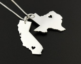State pendants etsy any two state necklace with heart cut out comes with the box style chain personalized 2 aloadofball Gallery