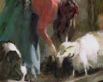 Tending the Goats 8x10 Canvas Giclee Print of Original Oil Painting by Kathleen Farmer Denver Artist