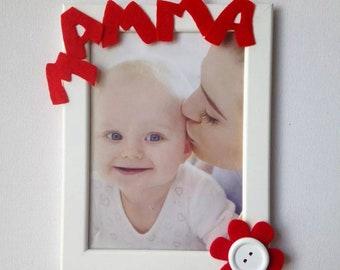 Picture frame wooden mom flower Idea gift Love Handmade felt