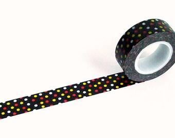 Washi Tape - Polka Dot Black Red Yellow White Star Night - no.121 // 15mm x 10m