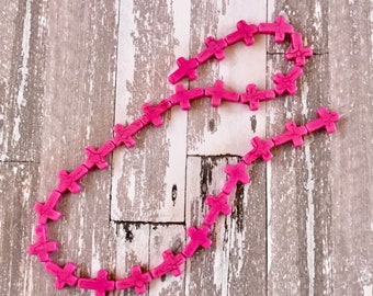 Crosses Pink Tiny Howlite Stone Strand, Jewelry, Craft Supplies (1 Strand)