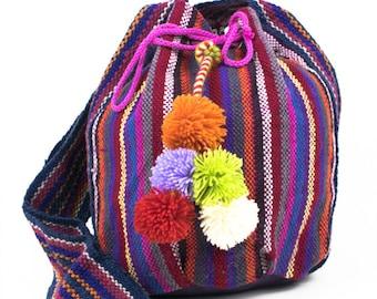 Pompom Beach bags / Bohemian beach Bags / Peruvian Bags