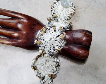 Crocheted Cuff Bracelet, Shabby Chic, Cottage Chic, Crochet Yarn Bracelet, Brown and Ivory Yarn Bracelet, Cuff Bracelet, Gift for Her