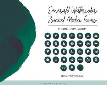 Emerald Green Watercolor Social Media Icons Set - 32 Icons - 75px - transparent PNG - Instant Download - Blog Kit - Watercolor Branding