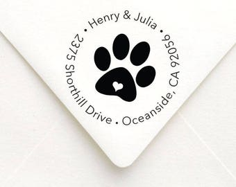 Paw Print Custom Return Address Stamp, Circle Paw Print Address Stamp, Self Inking Address Stamp, Personalized Address Stamp